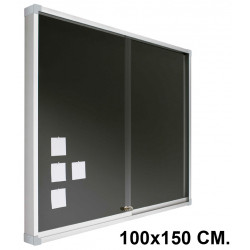 Vitrina de anuncios con fondo de corcho tapizado y marco de aluminio planning sisplamo de 100x150 cm.