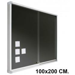 Vitrina de anuncios con fondo de corcho tapizado y marco de aluminio planning sisplamo de 100x200 cm.