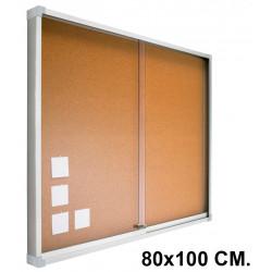 Vitrina de anuncios con fondo de corcho natural y marco de aluminio planning sisplamo de 80x100 cm.