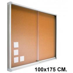 Vitrina de anuncios con fondo de corcho natural y marco de aluminio planning sisplamo de 100x175 cm.