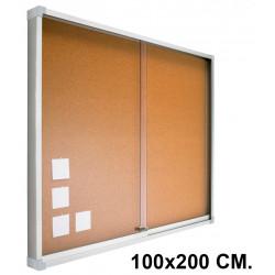 Vitrina de anuncios con fondo de corcho natural y marco de aluminio planning sisplamo de 100x200 cm.