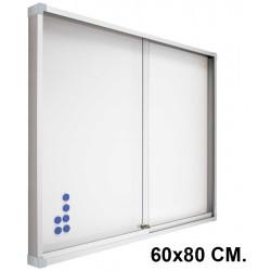 Vitrina de anuncios con fondo de acero vitrificado blanco y marco de aluminio planning sisplamo de 60x80 cm.