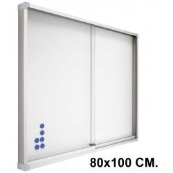 Vitrina de anuncios con fondo de acero vitrificado blanco y marco de aluminio planning sisplamo de 80x100 cm.
