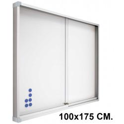 Vitrina de anuncios con fondo de acero vitrificado blanco y marco de aluminio planning sisplamo de 100x175 cm.