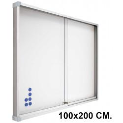 Vitrina de anuncios con fondo de acero vitrificado blanco y marco de aluminio planning sisplamo de 100x200 cm.