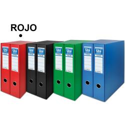 Box con 2 archivadores de palanca unisystem en formato din a-4, lomo 75 mm. rojo.