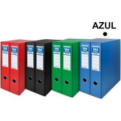 Box con 2 archivadores de palanca unisystem en formato din a-4, lomo 75 mm. azul.