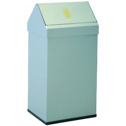 Papelera metálica con cabezal basculante extraíble sie 123 de 65x31,5x26 cm. 41 litros. color blanco.