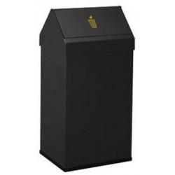 Papelera metálica con cabezal basculante sie 123 de 65x31,5x26 cm. 41 litros. color negro.