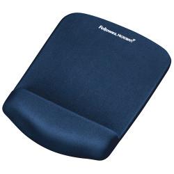 Alfombrilla con reposamuñecas para ratón fellowes memory foam fusion plushtouch en color azul.