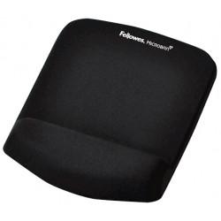 Alfombrilla con reposamuñecas para ratón fellowes memory foam fusion plushtouch en color negro.