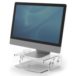 Soporte para monitor regulable fellowes clarity en color transparente.