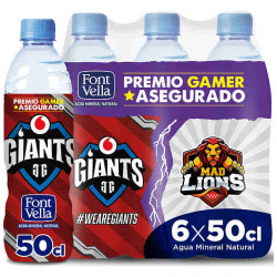 Agua mineral natural font vella giants, botella de 500 ml.
