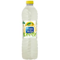 Agua mineral natural con zumo de limón font vella levité, botella de 1,25 l.