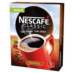 Cafe nescafe natural monodosis caja de 10 sobres.
