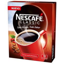Cafe nescafe descafeinado monodosis caja de 10 sobres.