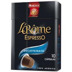 Cafe marcilla l'arome espresso decaffeinato fuerza 6 monodosis caja de 10 unidades compatible con nesspreso.