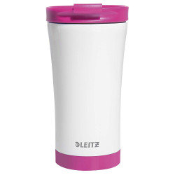 Taza leitz wow travel termica doble pared acero inoxidable capacidad 380 ml color rosa.