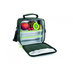 Bolsa porta alimentos ibili lunch away green termica con asa incluye 2 recipientes con tapa hermetica y bandeja.