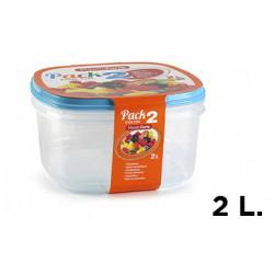 Fiambrera plasticforte transparente tapa color 2 litros, pack 2 unidades.