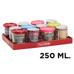 Bote multiusos plástico con tapa de color de 250 ml.
