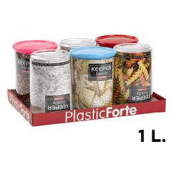 Bote multiusos plástico con tapa de color de 1 litro.