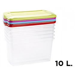 Caja multiusos de plástico con tapa de color de 7 litros.