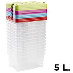 Caja para ordenación de plástico con tapa de color de 5 litros.