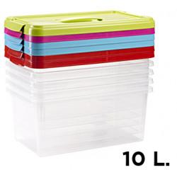 Caja para ordenación de plástico con tapa de color de 10 litros.