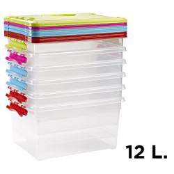 Caja para ordenación de plástico con tapa de color de12litros.