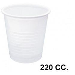 Vaso de plástico blanco 220 cc., paquete de 100 unidades.