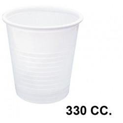 Vaso de plástico blanco 330 cc., paquete de 100 unidades.