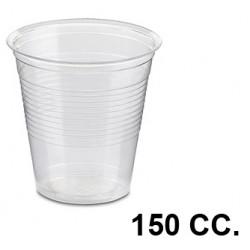 Vaso de plástico transparente de 150 cc., paquete de 100 unidades.