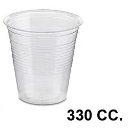 Vaso de plástico transparente de 330 cc., paquete de 100 unidades.