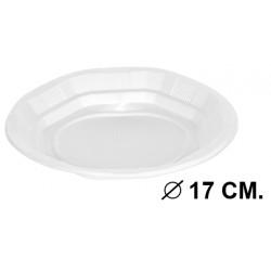 Plato de plástico de Ø 17 cm. color blanco, paquete de 50 unidades.