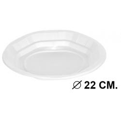 Plato de plástico de Ø 22 cm. color blanco, paquete de 100 unidades.