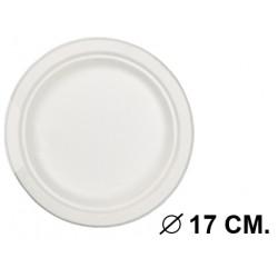 Plato biodegradable para usar en microondas de Ø 17 cm. color blanco, paquete de 50 unidades.