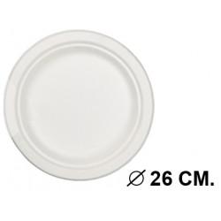 Plato biodegradable para usar en microondas de Ø 26 cm. color blanco, paquete de 50 unidades.