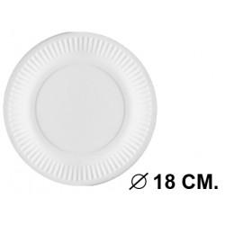 Plato en cartón compostado bioestucado de Ø 18 cm. color blanco, paquete de 20 unidades.