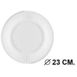 Plato en cartón compostado bioestucado de Ø 23 cm. color blanco, paquete de 20 unidades.