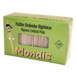 Palillo redondo de madera para dientes, caja de 1000 unidades.