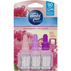 Recambios para ambientador eléctrico ambipur trivolution fragancia delicadas flores rosas de 21 ml.