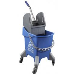 Carro de limpieza con bastidor y escurridor con 4 ruedas en color azul de 32 litros.