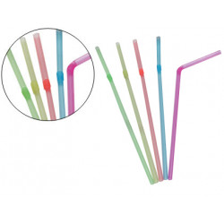 Pajita flexible de plástico de 230x5,5 mm. colores surtidos, paquete de 100 unidades.