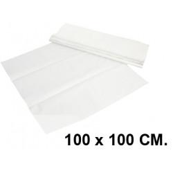 Mantel de papel en formato 100x100 cm. color blanco, caja de 400 unidades.