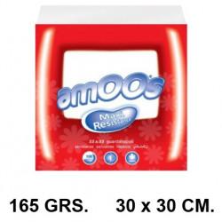 Servilletas de papel 1 capa amoos en formato 30x30 cm. 165 grs. color blanco, paquete de 100 unidades.