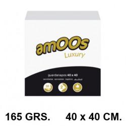 Servilletas de papel 2 capas amoos en formato 40x40 cm. 165 grs. color blanco, paquete de 50 unidades.