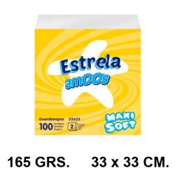 Servilletas de papel 2 capas amoos en formato 33x33 cm. 165 grs. color blanco, paquete de 100 unidades.