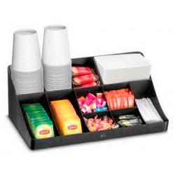 Bandeja organizadora cep en poliestireno con 11 compartimentos especial para snacks color negro.