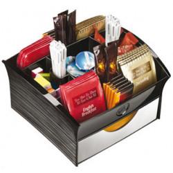 Bandeja organizadora cep en poliestireno con 9 compartimentos especial para snack de 205x216x126 mm. color negro.